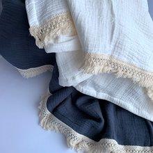 4 слоя хлопка муслин детское одеяло с кисточкой Летняя простыней