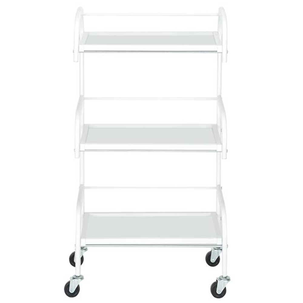 Three-Layer Beauty Tool Cart With Glass White 4 Wheels Hair Salon Instrument Storage Cart