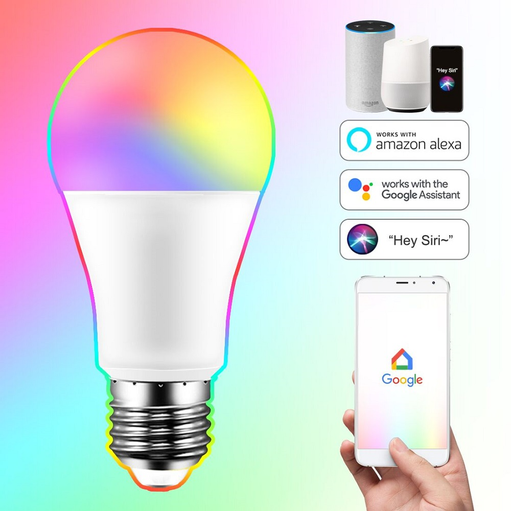 E27 Smart Bulb 15W WiFi LED Light Lamp Color Changing Magic RGB + White Dimmable Timer Function Work with Alexa Google Home Siri