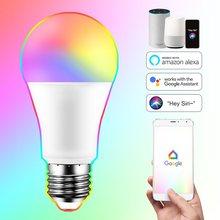 E27 lâmpada inteligente 15w wi fi led lâmpada de luz mudança cor mágica rgb + branco função temporizador regulável trabalhar com alexa google casa siri