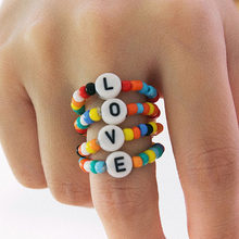 2020 Anel Masculino United States Cross-border Accessories Joker Beaded Circular Bead Color M Female Love Letters Geometry Ring(China)
