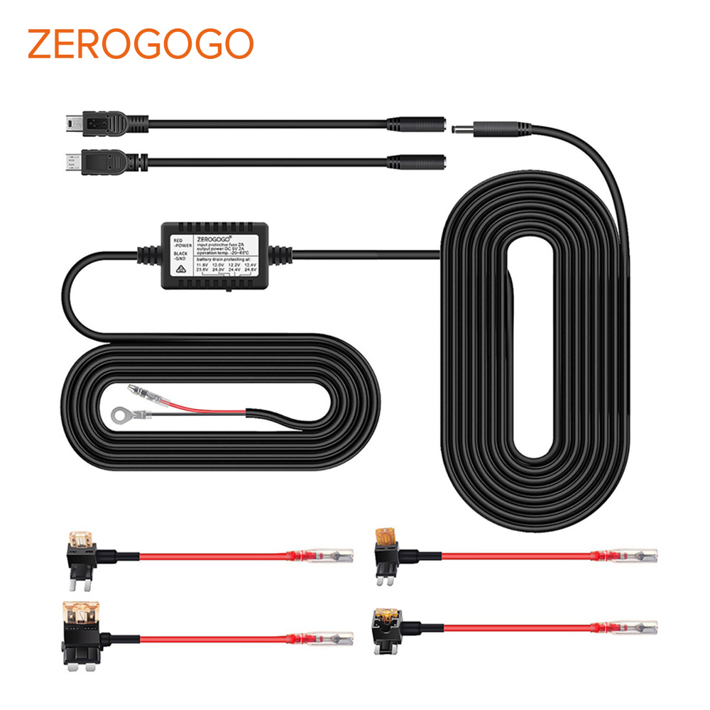 ZEROGOGO Hard Wire Kit DC <font><b>12V</b></font> 24V to 5V 2.0A <font><b>DVR</b></font> Power Adapter <font><b>Cable</b></font> Mini Micro <font><b>USB</b></font> Hardwire Kit for Dash Cam/<font><b>Car</b></font> <font><b>DVR</b></font>/GPS image