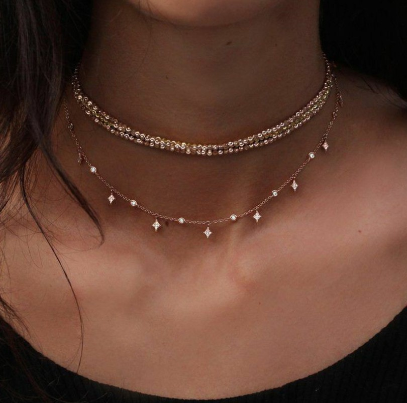 2019 New Fashion Multilayer Choker Necklace Crystal Star Chain Gold Women Summer Jewelry Statement Necklace Choker