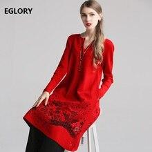 Alta calidad nuevo 2019 Otoño Invierno lana suéter vestido mujer cuello pico ahuecado bordado manga larga rojo negro Vestido de punto 4XL