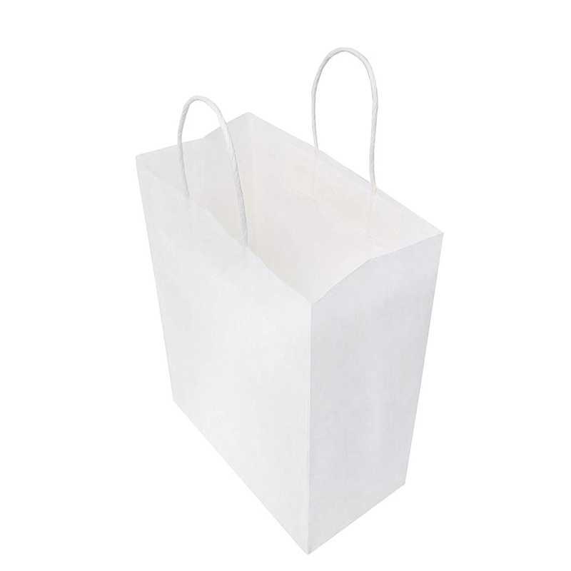 personalizaci/ón Bolsa de Regalo de Compras Blanca de 20x12x26,5cm con Asas retorcidas para Fiesta Transporte Embalaje Venta al por Menor Switory Bolsa de Papel Kraft de 25 Piezas con Asas