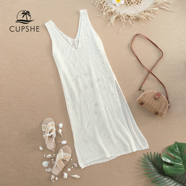 CUPSHE Ivory V-neck Hollow out Cover Up Woman Swimsuit Sexy Side Split Sleeveless Beach Midi Dress 2021 Summer Dress Beachwear 3