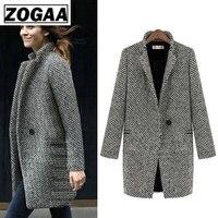 Модное длинное шерстяное Женское пальто размера плюс, зимняя Осенняя клетчатая куртка, 2019 шерстяное пальто, твидовая верхняя одежда, 5XL 6XL 7XL