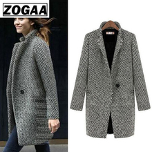 Fashion Long Woolen Women Coat Female Plus Size Winter Autumn Plaid Jacket 2019 Wool Blend Cape Coat
