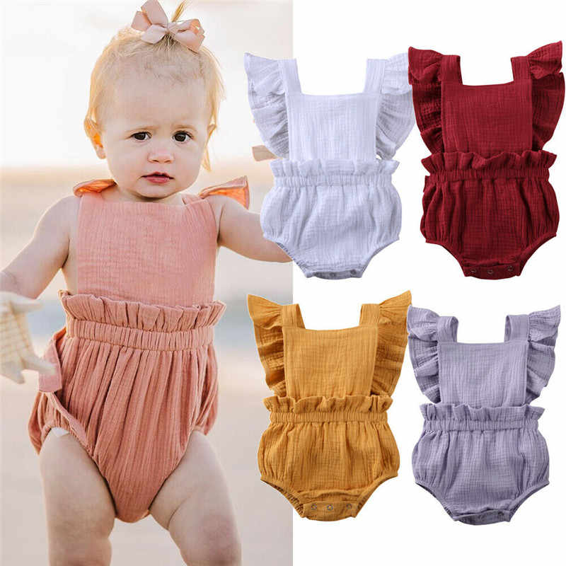 Summer Pudcoco  Baby Boy Girl Ruffle Sleeve Clothes Newborn Solid Soft cotton Romper Sunsuit Babe Infant Jumpsuit Outfits