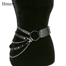 Fashion Sexy Gothic Punk Leather Belt for Women Big Metal O-ring Belt Metal Hoop Adjustable Waist Belts For Jeans Chain silver недорого