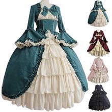 Средневековое Ретро готическое платье королевская Леди бальное платье квадратный вырез узкая талия бант женский элегантный костюм vestido ropa muj