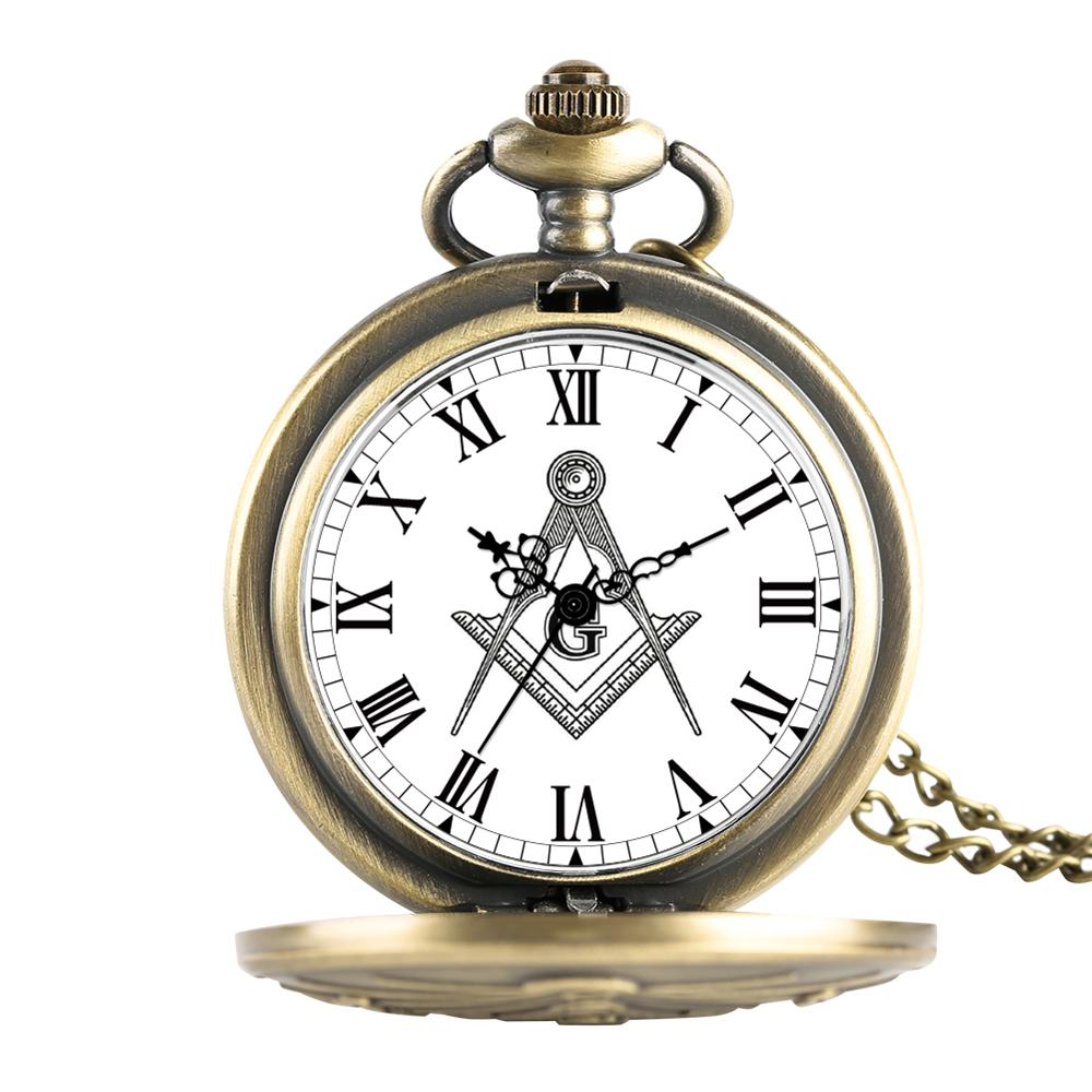 Antique Freemason G Dial Chrome Square and Compass Mason Masonic Necklace Pendant Quartz Pocket Watch Best Gifts for Freemason