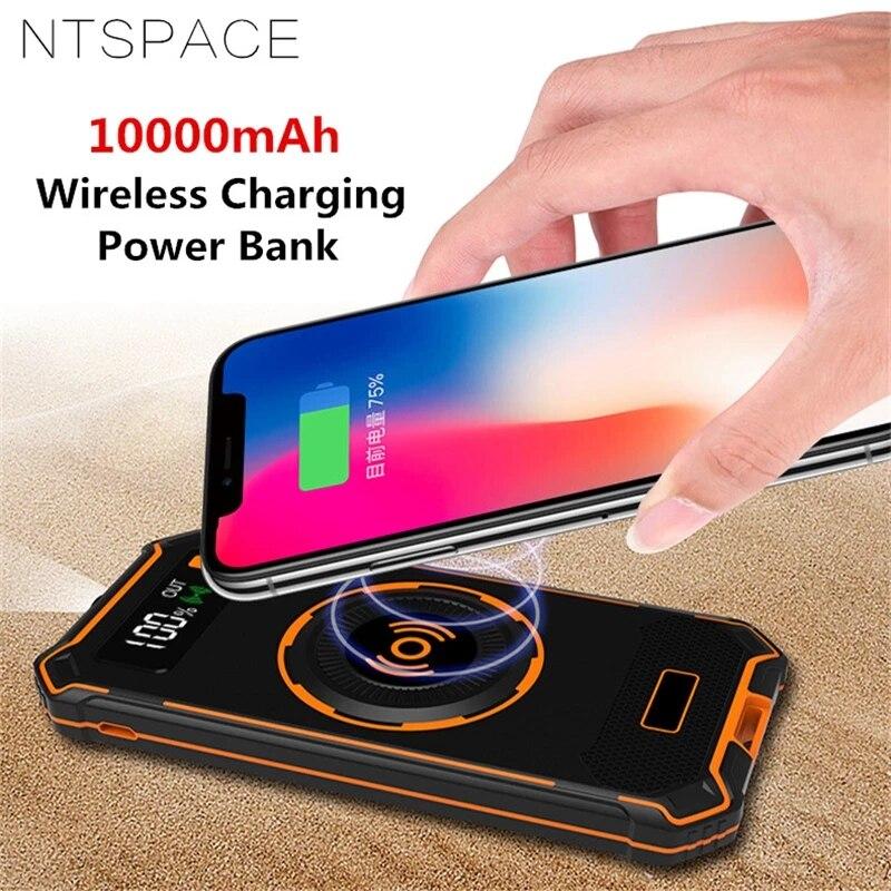 10000mAh QI sans fil charge batterie externe pour iPhone 11 X universel affichage numérique sans fil chargeur de téléphone batterie externe vente
