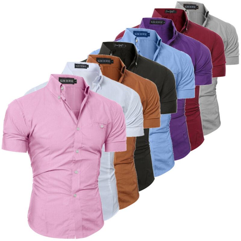 Модная Роскошная шикарная мужская приталенная рубашка с коротким рукавом Стильная деловая рубашка на пуговицах однотонная Повседневная р...