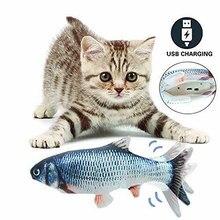 Elektryczna ruchoma ryba zabawka dla kota Flopping symulacja Wagging Fish Pet Funny Chew Bite USB Charger Kitten Plaything Supplies