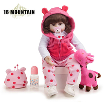 55CM Handmade Bebe Reborn Baby Doll Pink Sleeping Girl Princess Doll Cloth Body and Soft Silicone Doll With Giraffe Toddler Gift женская рубашка big pink cloth doll d15ats007 2015