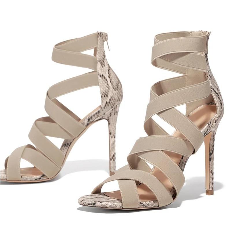 Sandalias Mujer 2020 Senhoras Bombas das Mulheres Moda Bandage Patchwork Cores Misturadas Cobra Sandálias De Salto Alto Sapatos Casuais size37 ~ 43