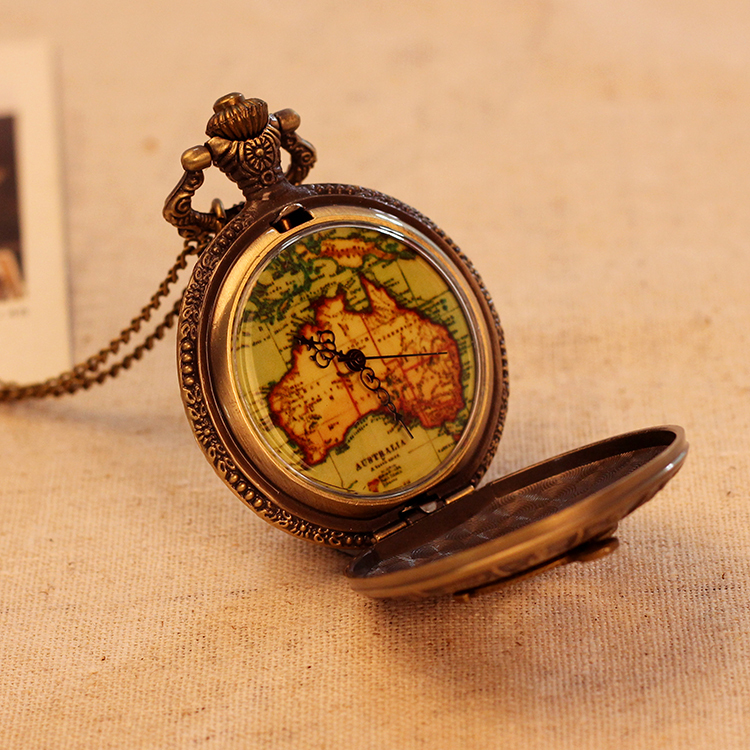 Fashion Luxury Retro Men Women Pocket Watch Antique Bronze Fashion Necklace Map Pattern Pendant Pocket Watch Relogio Masculino