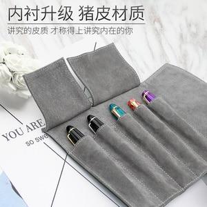 Image 3 - Wancherของแท้กระเป๋าหนัง 5 ปากกากระเป๋าดินสอม้วนของขวัญกล่องป้องกันสีดำปากกา