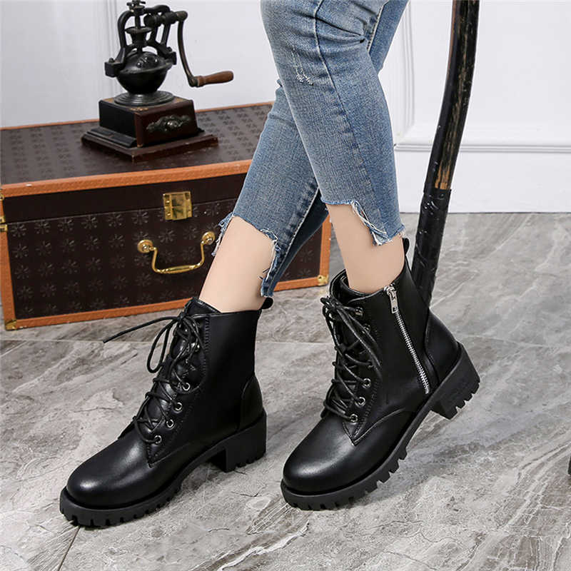 Autumn Boots Women 2019 Vintage Leather Ankle Short Casual Botas Non-SlipWestern Boots Cowboy Boots Motorcycle Pour Women 7*45
