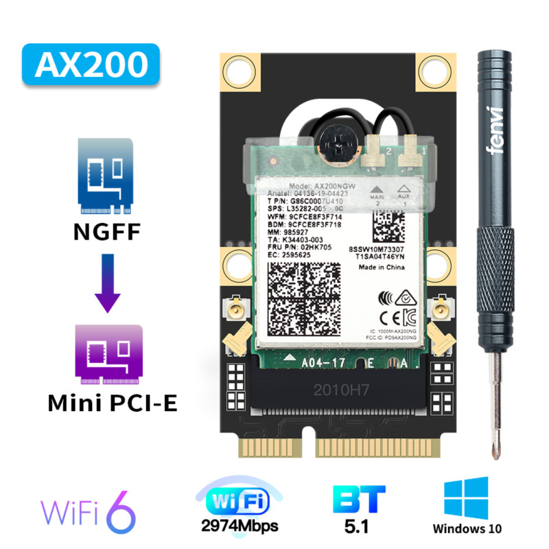 Wi-Fi 6 AX200 Mini PCI-E Network Card 2400Mbps 802 11ax ac Bluetooth 5 1 2 4G 5GHz Wireless Adapter For Windows 10