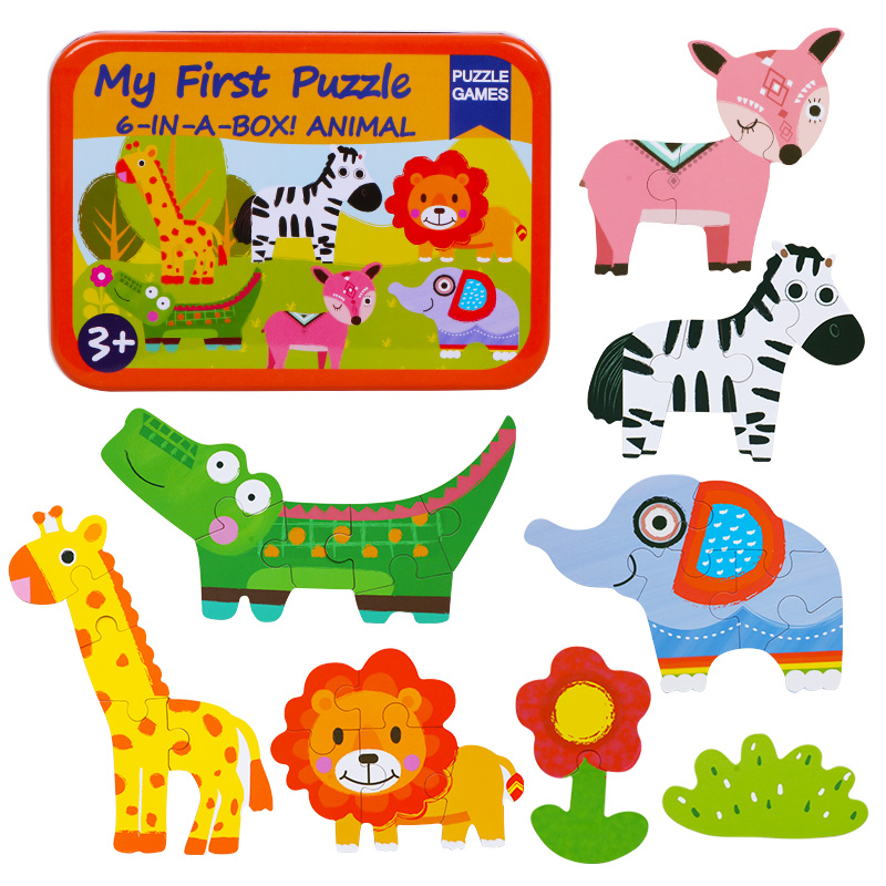 Children Toys 6 In 1 Box Puzzle Jigsaw Wooden Toys Cartoon Animals Traffic Puzzles Tangram Kids Educational Toy For Children
