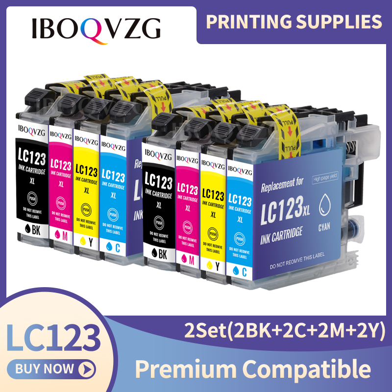 IBOQVZG LC123 LC121 Compatible Ink Cartridge For Brother DCP-J552DW J752DW J132W J152W J172W MFC-J470DW J650DW J870DW printer