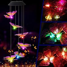 Solar Powered LED Wind Chime Transparent Hummingbird Color-Changing Waterproof for Party Patio Yard Garden Decor