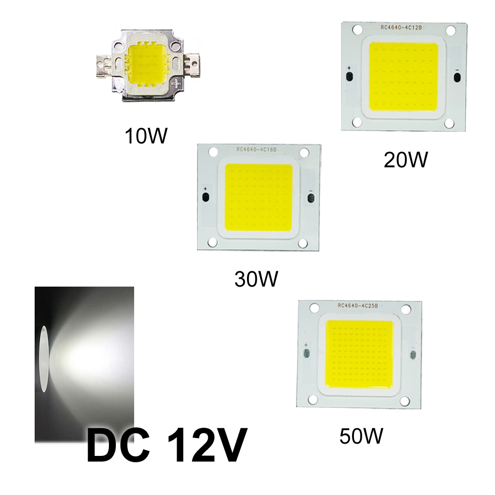 LED Chip 12V COB Flood Light Strip Cold White High Power Lamp Bulb Bead DIY Panel 10W/20W/30W/50W New Super Bright