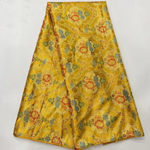 Nice Yellow 5Yards Brocade Jacquard Lace Fabric African Damask Material Floral Cloth Nigerian Tissu Tela For Sewing Dress PJZ14