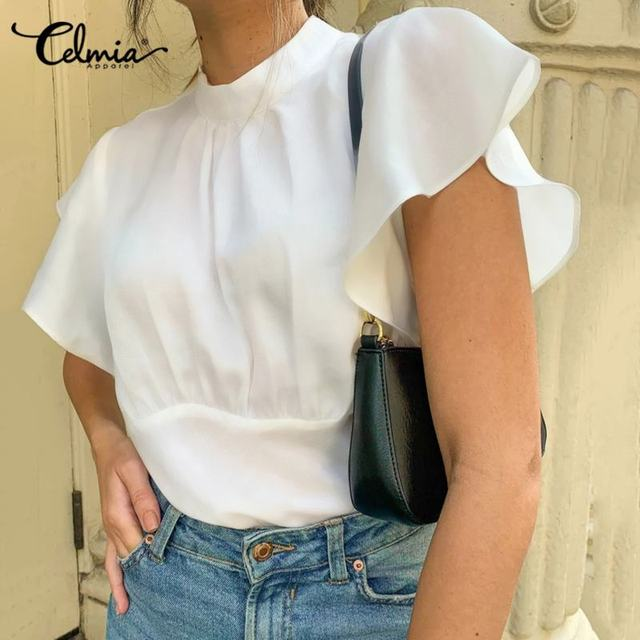 2020 Summer Celmia Women Solid Blouses Casual Short Ruffles Sleeve OL Tops Ladies Elegant Shirt Plus Size Back Zipper Blusas 5XL 1