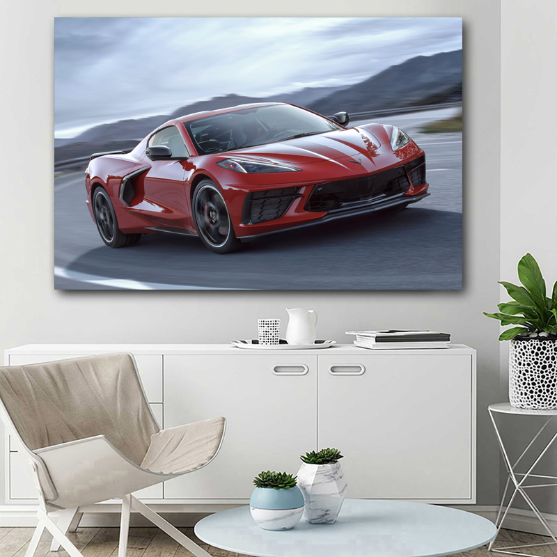 corvette c8 red car sport car supercar vehicle posters wall art prints canvas painting for living room decor