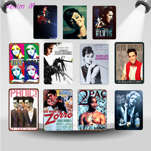 Hot Movie Celebrity Vintage Anime Metal Plate Rocky Singers Iron Printed Wall Posters Club Cinema Casino Home Decor WY39