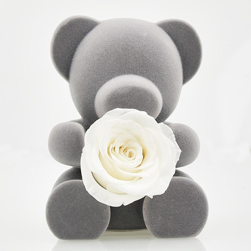 6 стилей,, свежие цветы красавицы и чудовища, красные вечные розы в стеклянном куполе, Рождественский подарок на день Святого Валентина, Прямая поставка - Цвет: white rose bear