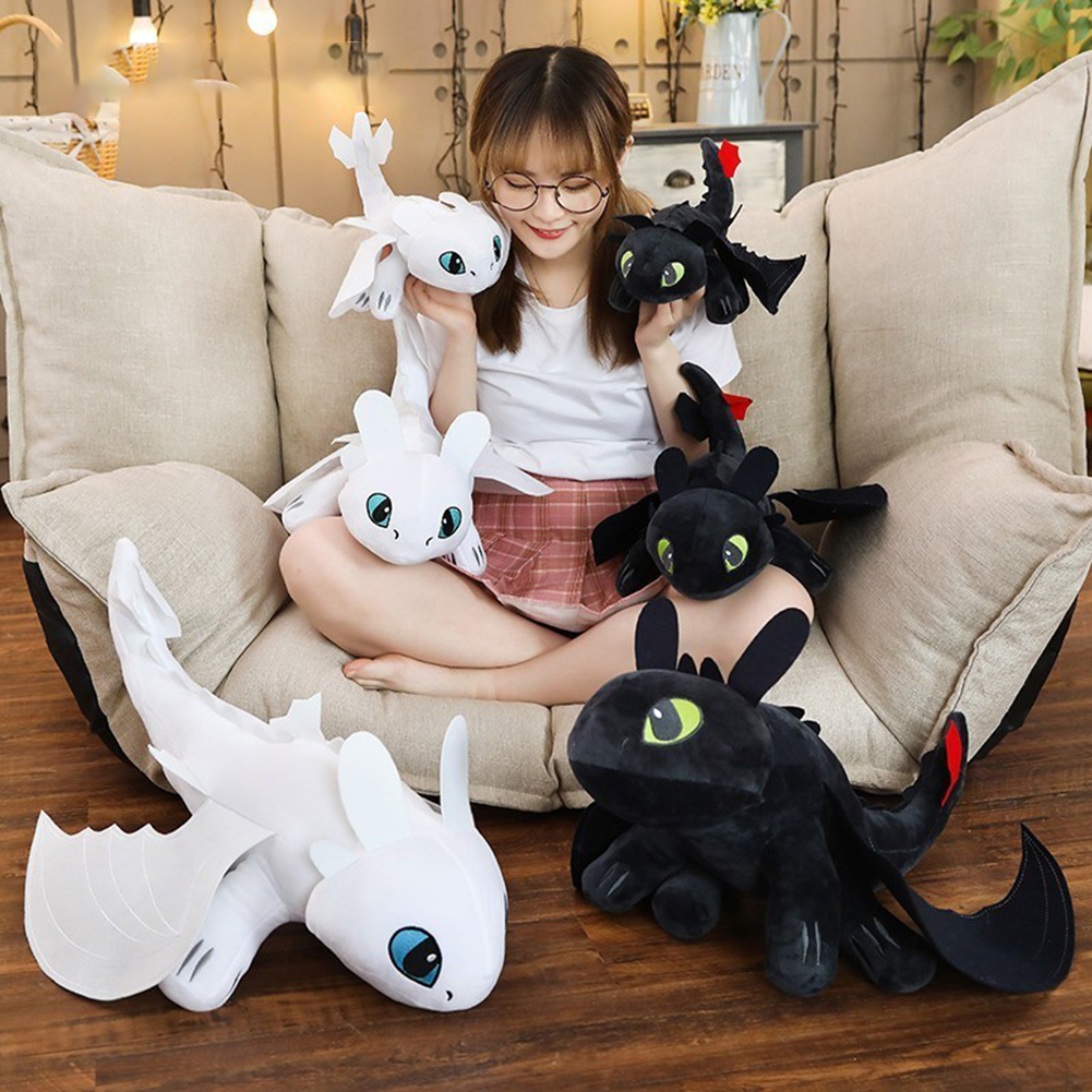 25/30/40cm How To Train Your Dragon 3 Toothless Anime Figure Night Fury Light Fury Dragon Stuffed Toys For Kids Birthday Gift