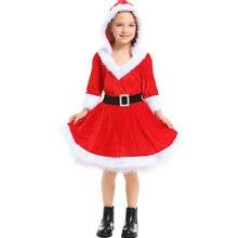 Umorden dzieci dziecko 2 sztuka mikołaj kostium mikołaja Cosplay dla dziewczynek sukienka świąteczna bluza z kapturem czerwona