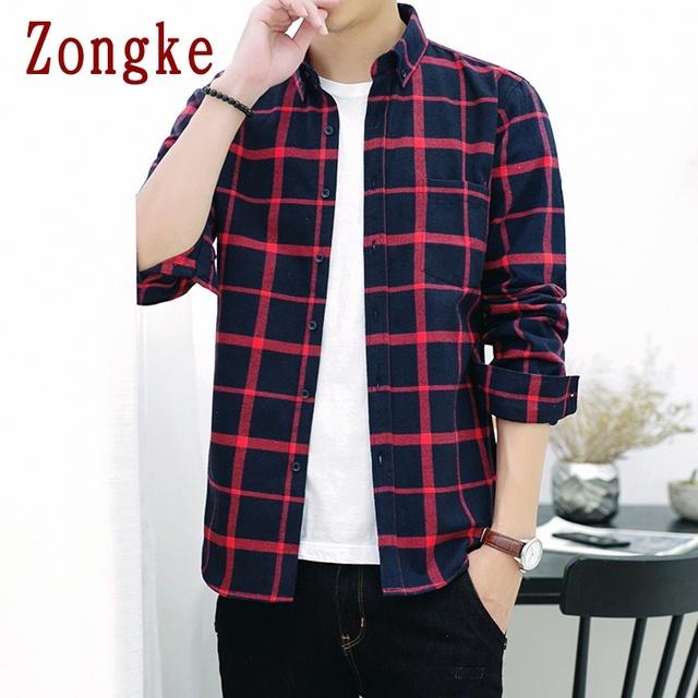 Zongke 2020 New Spring Casual Plaid Shirt Men