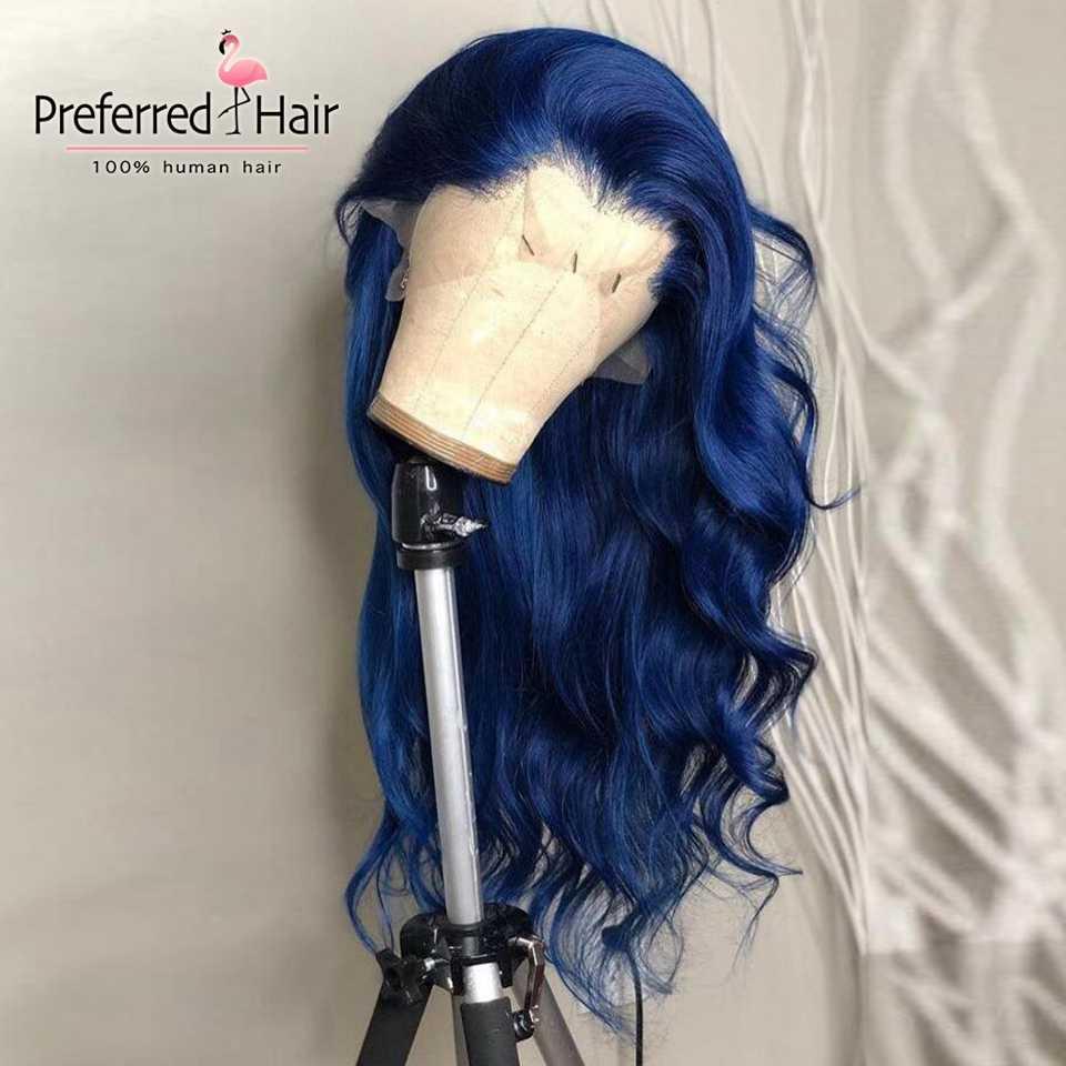 Предпочтительный prepucked Ombre зеленый синий парик 13x6 Ombre Человеческие волосы парик Glueless Remy бразильские Красные кружевные передние парики для черных женщин