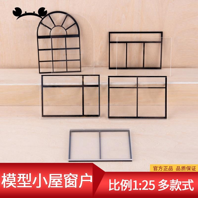 3pcs 1:25 Scale Acrylic Material Grids Miniature Dollhouse Window Model DIY Furniture Miniaturas Accessories