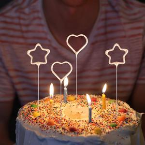 6 Pcs Cake Decoration Candle Cake Pick Ornament Love Stars Shape Candles for Valentine's Day Birthday Party Supplies Golden