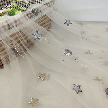1yard New star sequin embroidery mesh tulle lace fabric diy exquisite evening dress skirt clothing
