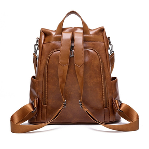 Image 5 - Women Backpack High Quality Vintage Oil Wax PU Leather Bagpack 2020 New Waterproof Anti theft Ladies Leisure Travel Back Pack