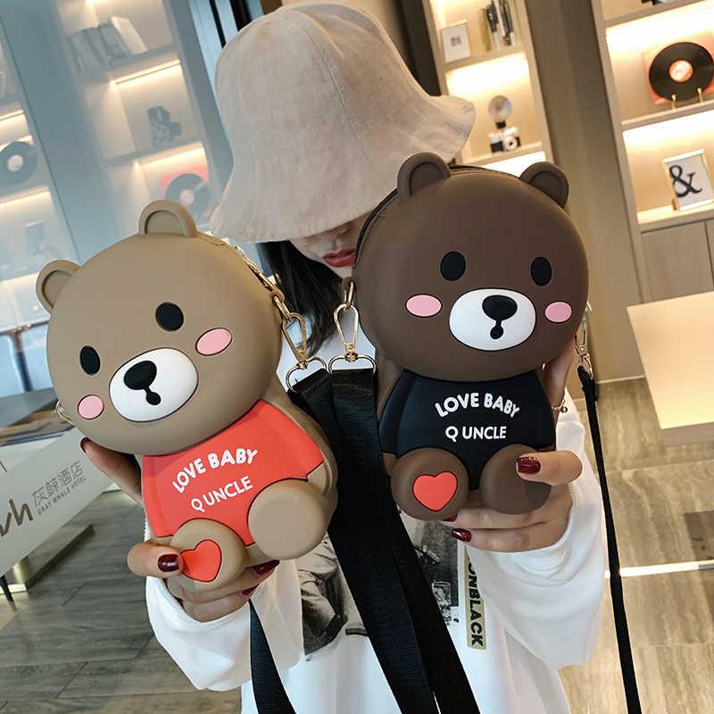 Panas Fashion Merek Desain Wanita Berbentuk Beruang Tas Lucu Lucu Wanita Malam Casing Tas Genggam Dompet Chain Tas Bahu untuk Ulang Tahun hadiah