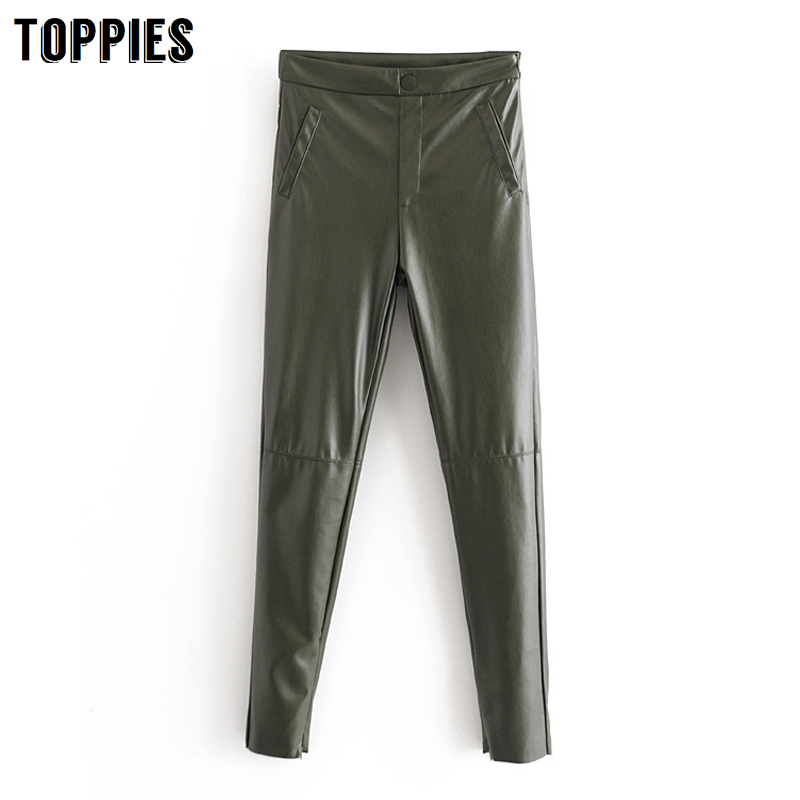 2020 Spring Skinny Leather Pants Army Green Stretch Pencil Pants High Waist Trousers Women Streetwear