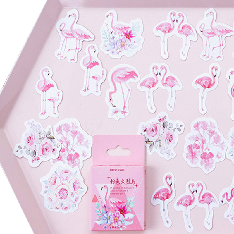 20packs/lot Kawaii Pink Flamingo Sticker DIY Diary Paper Lable Sealing Adhesive Scrapbooking Decorative Stickers Wholesale image