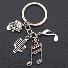 Creative Metal Skull Guitarist Keychain, Tibetan Silver Charms,  Cactus Charms,  Music Charms,Mexican Style Pendant, A2043 1pcs