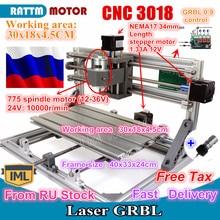 Mini fraiseuse CNC 3018 GRBL, zone de travail 300x180x45mm, 3 axes, routeur en bois v2.4