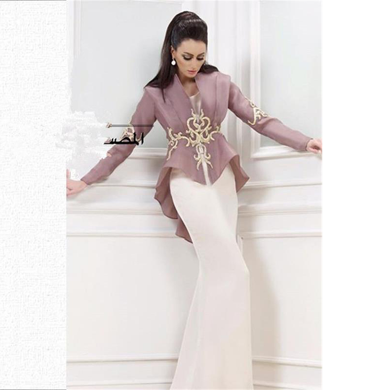 New Design Saudi Arabia White Mermaid Evening Gown Embroidery Long Sleeve Organza 2018 Mother Of The Bride Dresses With Jacket