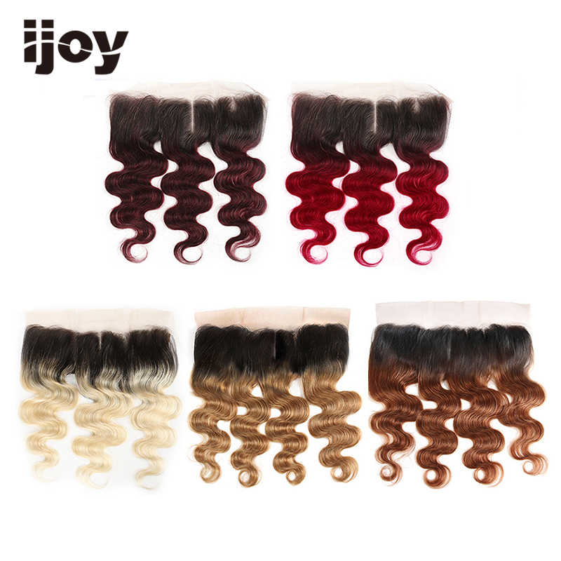 "Human Hair With 4x13 Lace Frontal #613/27/30/99J/Burgundy 8""-20"" M Non-Remy Body Wave Frontal Brazilian Hair Extension IJOY"