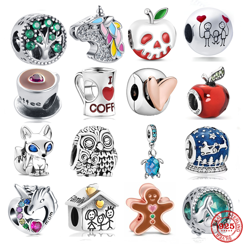 Bracelet DIY Jewelry Charm Bead Heart-Clip Coffee Apple 925-Sterling-Silver Original Pandora